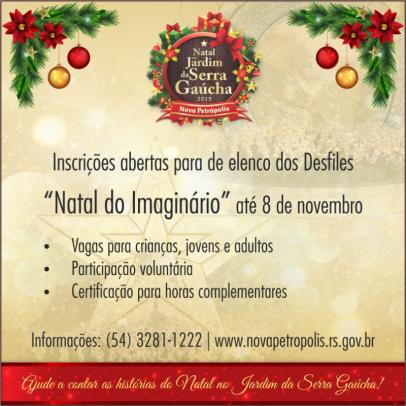 """Foto de capa da notícia: Inscrições para elenco dos desfiles """"Natal do Imaginário"""" estão abertas até 8 de novembro"""