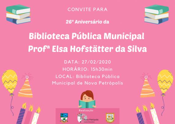 Foto de capa da notícia: Biblioteca Pública Municipal Profª Elsa Hofstätter da Silva celebra 26 anos