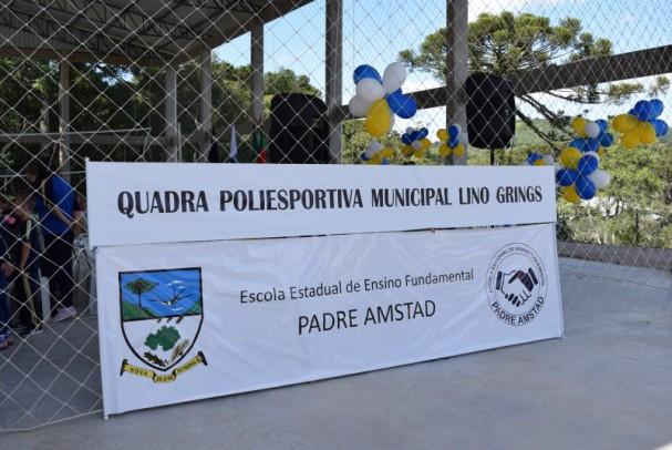 Foto de capa da notícia: Inaugurada 1ª etapa da obra da Quadra Poliesportiva Municipal Lino Grings