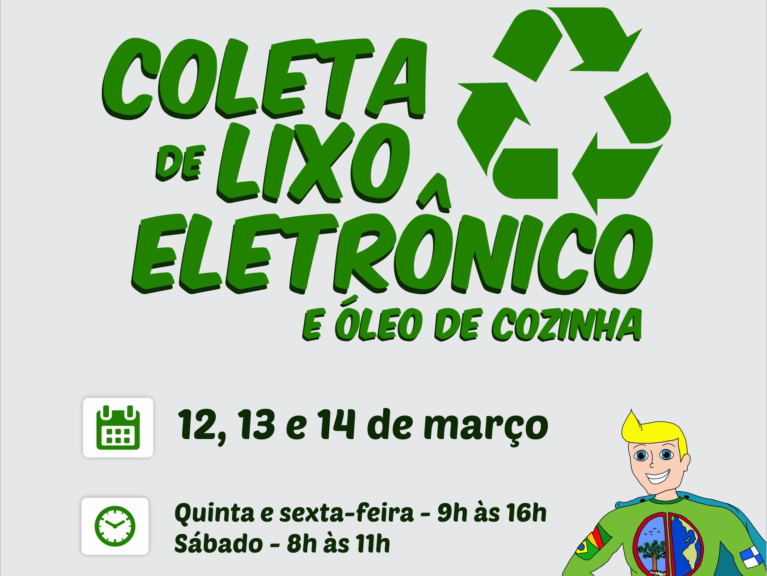 Foto de capa da notícia: Coleta de lixo eletrônico e óleo de cozinha será dias 12, 13 e 14 de março