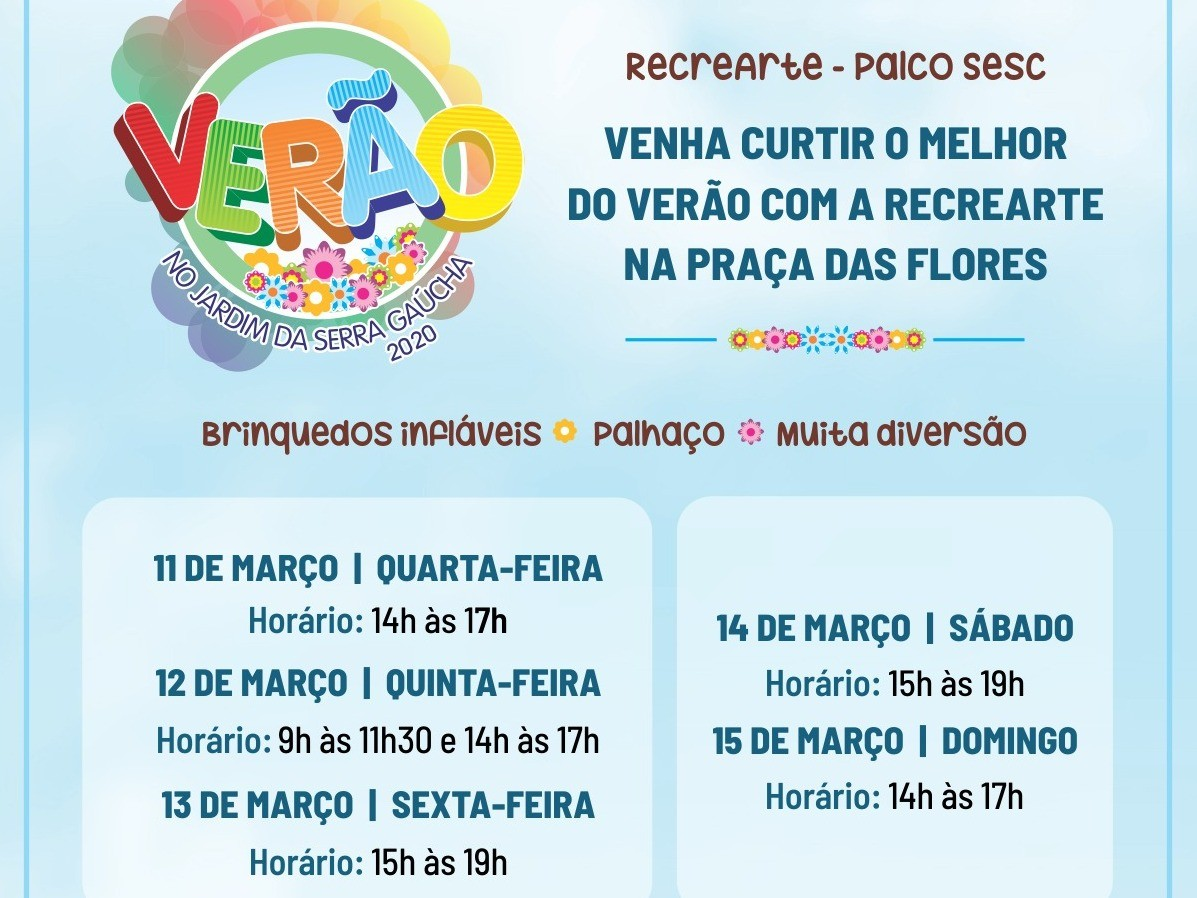 Foto de capa da notícia: Recrearte e Palco SESC são atração para a criançada no Verão no Jardim da Serra Gaúcha