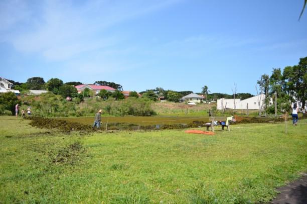 Foto de capa da notícia: Servidores municipais e comunidade limpam lago no Bairro Bavária