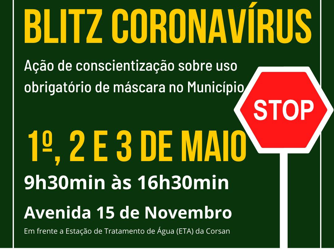 """Foto de capa da notícia: Prefeitura de Nova Petrópolis promove """"Blitz Coronavírus"""" nos dias 1º, 2 e 3 de maio"""