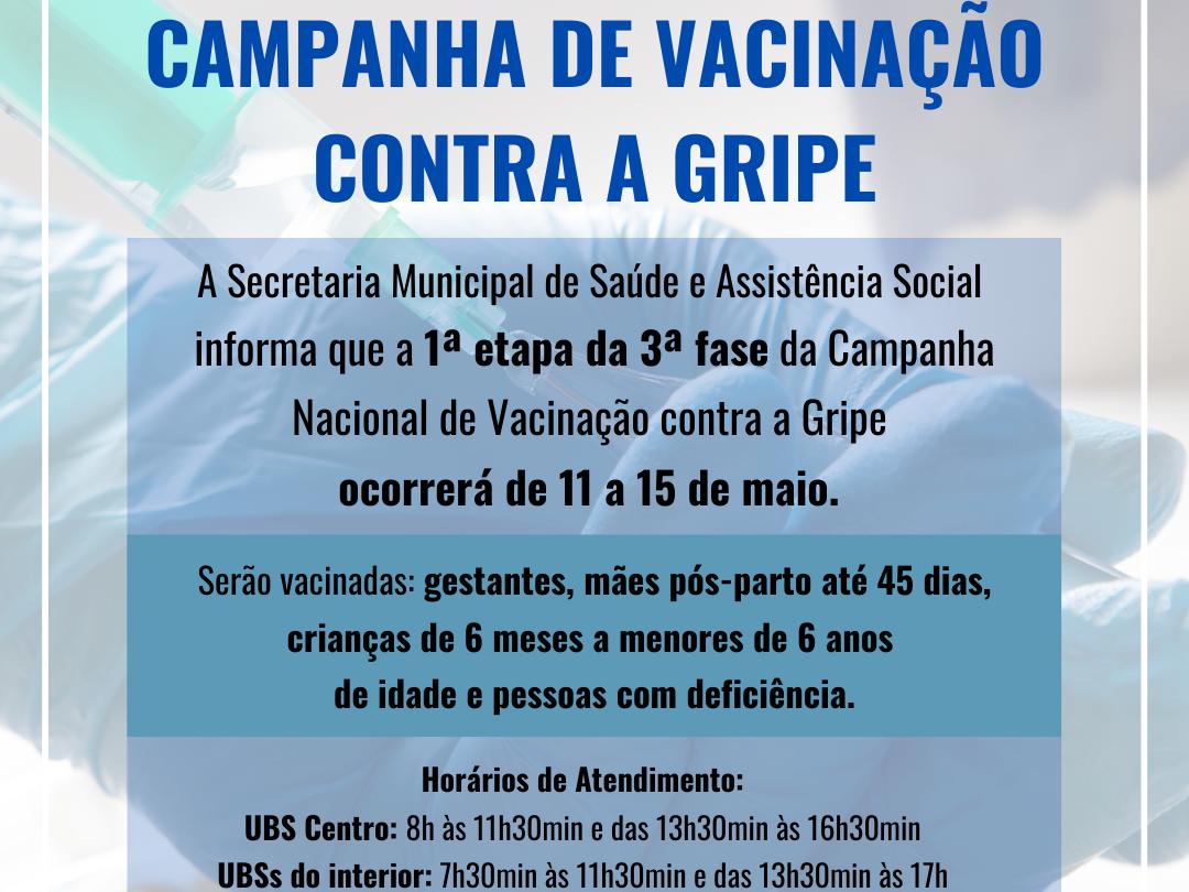 Foto de capa da notícia: 3ª fase da Campanha Nacional de Vacinação contra Influenza inicia dia 11 de maio