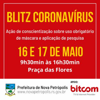 """Foto de capa da notícia: """"Blitz Coronavírus"""" será na Praça das Flores nos dias 16 e 17 de maio"""