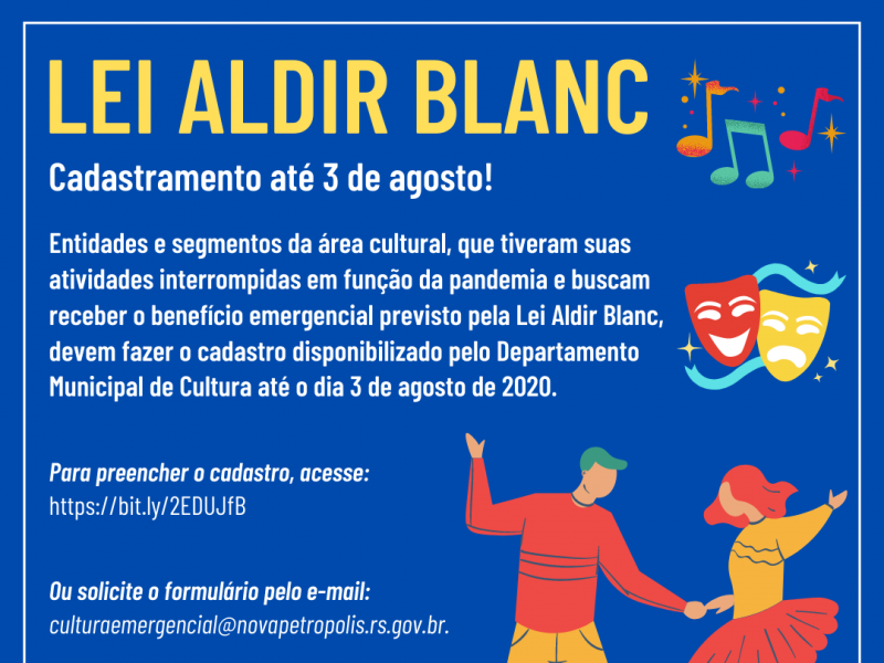 Foto de capa da notícia: LEI ALDIR BLANC – Cadastramento até 3 de agosto