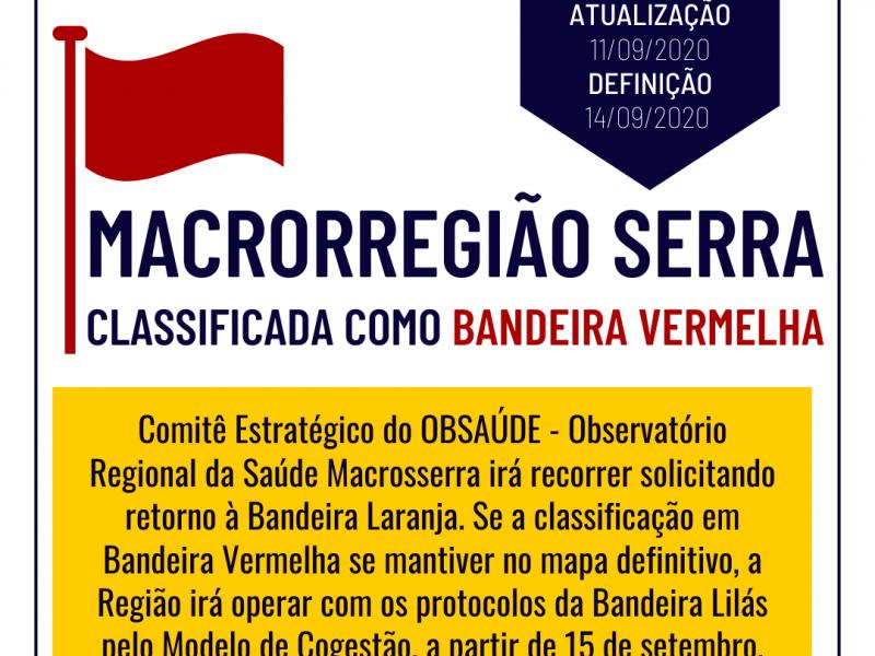 Foto de capa da notícia: Macrorregião Serra é classificada como Bandeira Vermelha