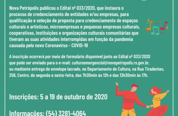 Foto de capa da notícia: Nova Petrópolis publica Edital para credenciamento de entidades e/ou empresas para subsídio mensal da Lei Aldir Blanc