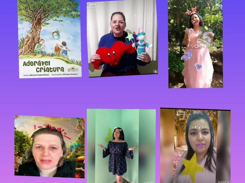 Foto de capa da notícia: Professores da EMEI Ursinho Carinhoso realizam Hora do Conto em vídeo coletivo