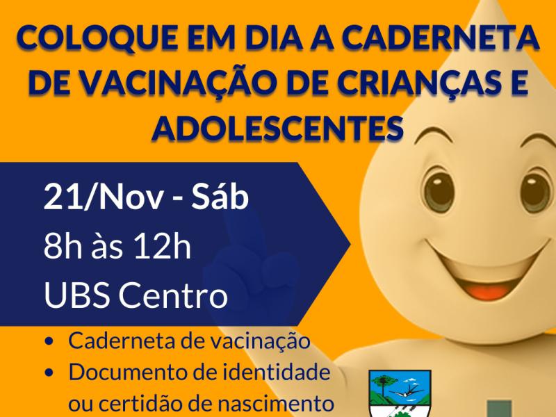 Foto de capa da notícia: UBS Centro estará aberta sábado de manhã para atualização da caderneta de vacinação de crianças e adolescentes