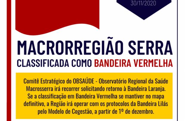 Foto de capa da notícia: Macrorregião Serra é classificada em Bandeira Vermelha no mapa preliminar
