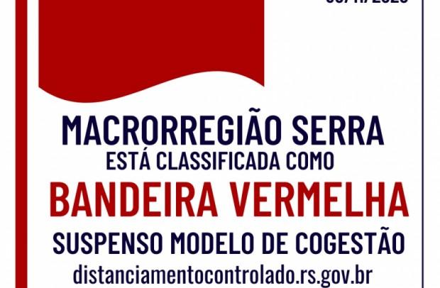 Foto de capa da notícia: Macrorregião Serra opera em Bandeira Vermelha a partir de 1º de dezembro