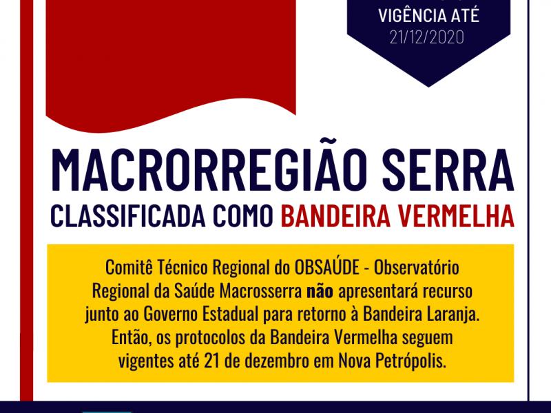 Foto de capa da notícia: Serra permanece na Bandeira Vermelha até 21 de dezembro