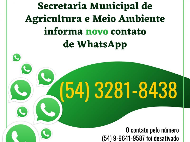 Foto de capa da notícia: ⚠️ Mudou o WhatsApp da Secretaria de Agricultura e Meio Ambiente ⚠️