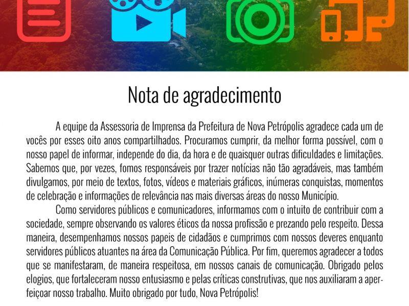Foto de capa da notícia: NOTA DE AGRADECIMENTO