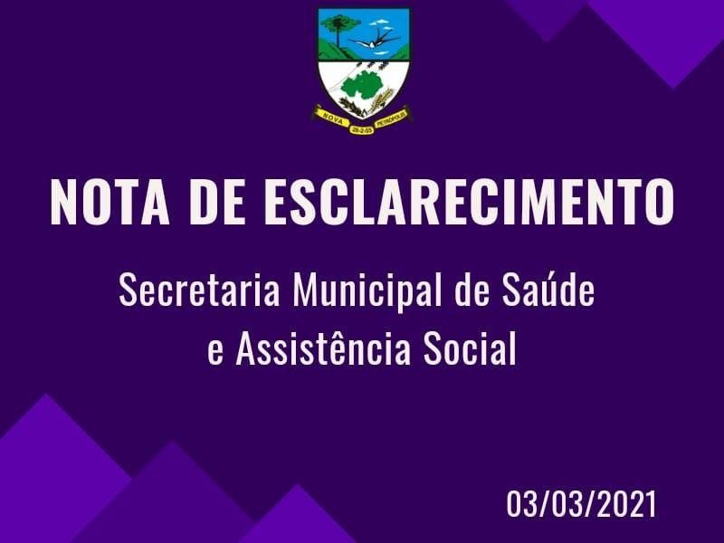 Foto de capa da notícia: Nota de esclarecimento da Secretaria Municipal de Saúde e Assistência Social