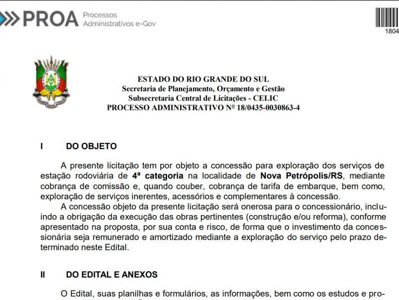 Foto de capa da notícia: Daer reabre licitação para concessão de rodoviária em Nova Petrópolis