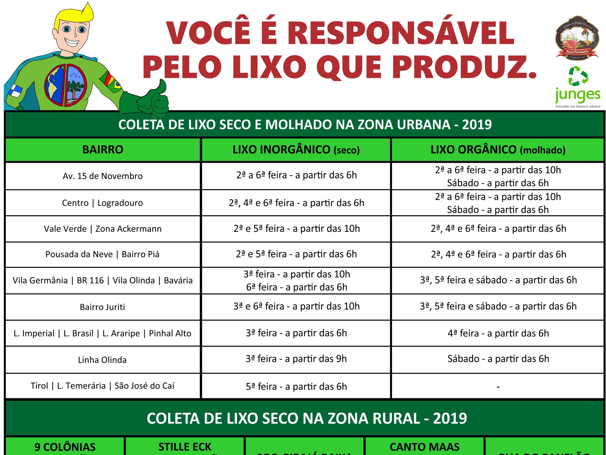 Foto de capa da notícia: Prefeitura de Nova Petrópolis informa novos horários da Coleta de Lixo