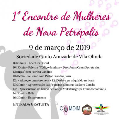 Foto de capa da notícia: 1º Encontro de Mulheres de Nova Petrópolis ocorre dia 9 de março