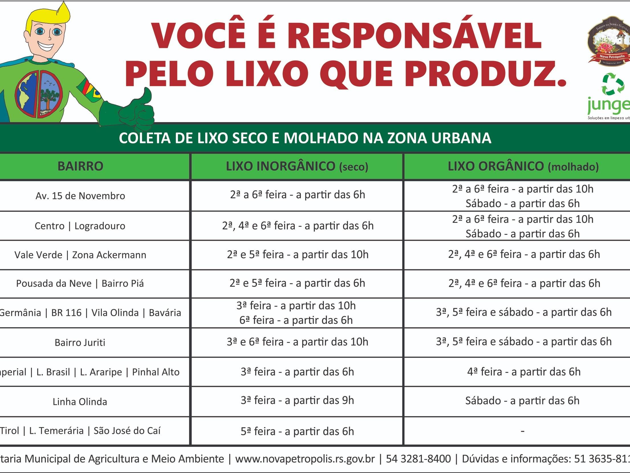 Foto de capa da notícia: Confira os horários da Coleta de Lixo em Nova Petrópolis