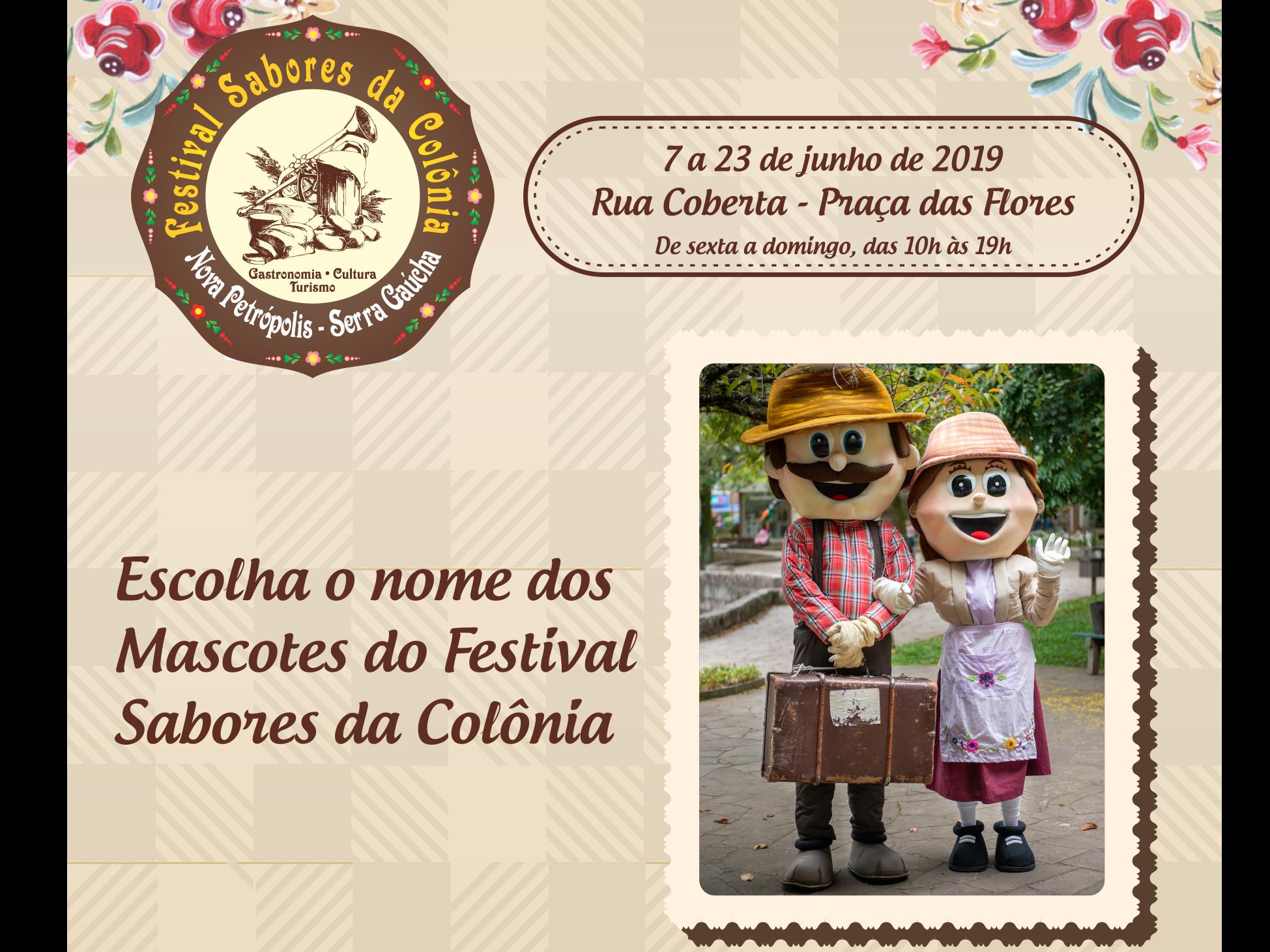 Foto de capa da notícia: Nomes dos mascotes do 6º Festival Sabores da Colônia de Nova Petrópolis serão escolhidos por votação
