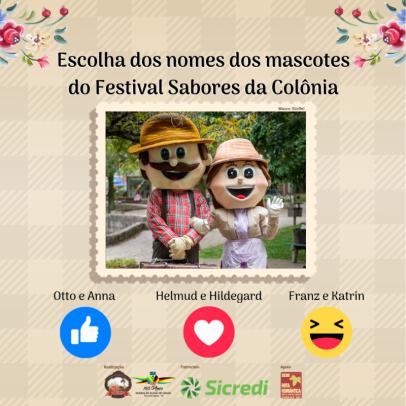 Foto de capa da notícia: Votação dos nomes dos mascotes do 6º Festival Sabores da Colônia de Nova Petrópolis encerra dia 6 de maio