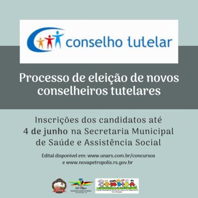 Foto de capa da notícia: Inscrição de candidatos para eleição de conselheiros tutelares de Nova Petrópolis encerra dia 4 de junho