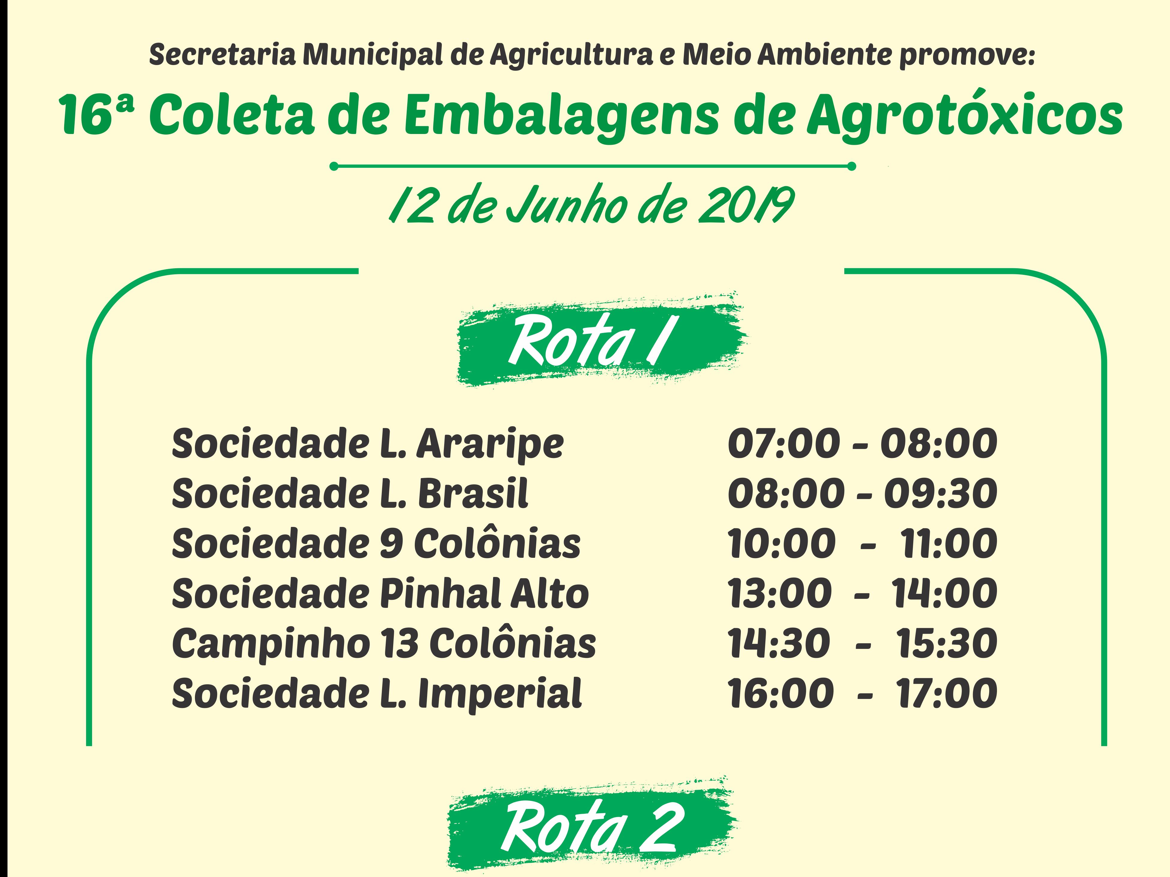 Foto de capa da notícia: 16ª Coleta de Embalagens de Agrotóxicos ocorre dia 12 de junho em Nova Petrópolis