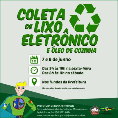 Foto de capa da notícia: Nova Petrópolis promove Coleta de Lixo Eletrônico dias 7 e 8 de junho