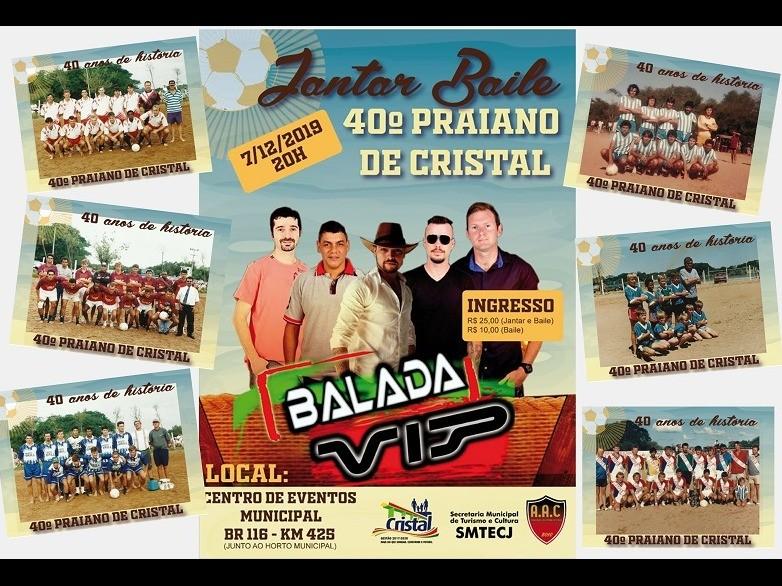 Foto de capa da notícia: Jantar baile alusivo aos 40 Anos do Praiano de Cristal