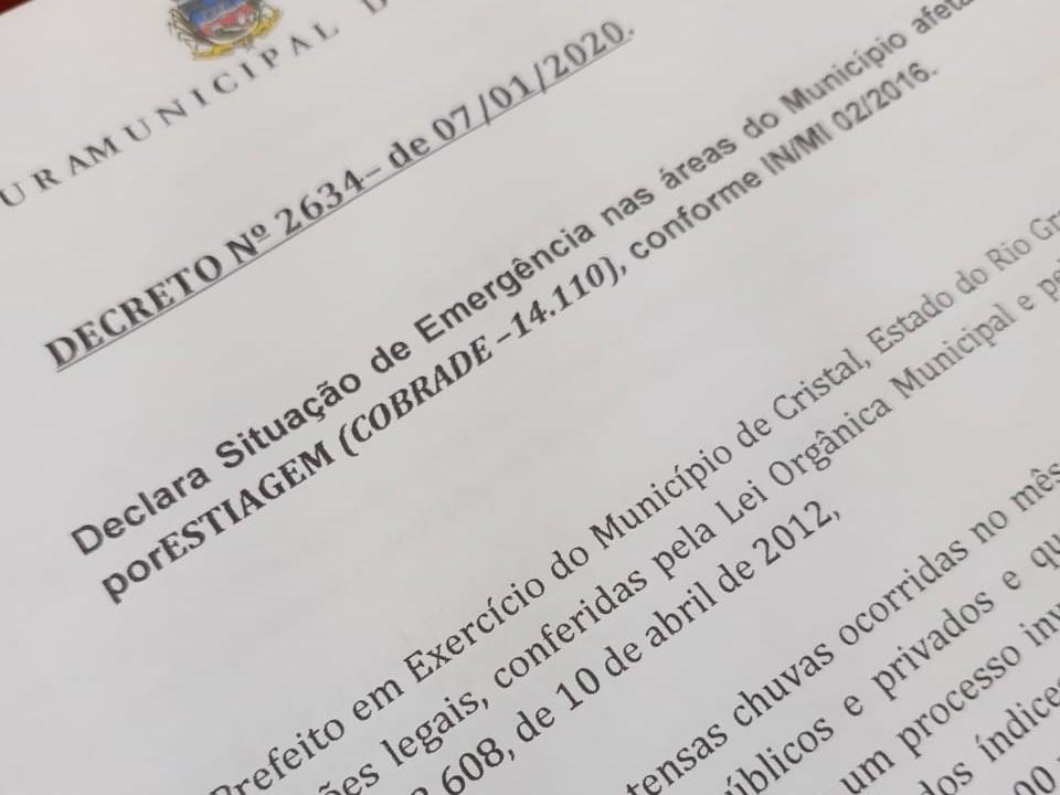 Foto de capa da notícia: Decreto de Situação de Emergência