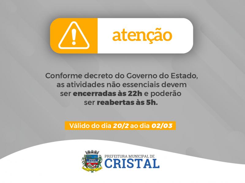 Foto de capa da notícia: Decreto do Governo do Estado determina horário de encerramento de atividades