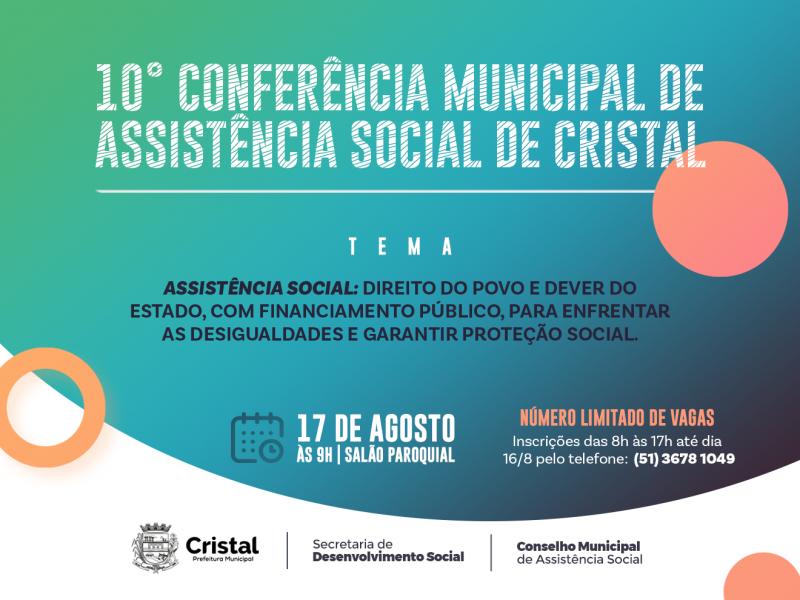 Foto de capa da notícia: 10ª Conferência Municipal de Assistência Social de Cristal acontecerá nesta terça-feira (17)