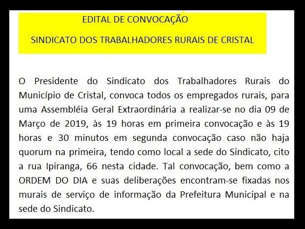Foto de capa da notícia: Edital de Convocação