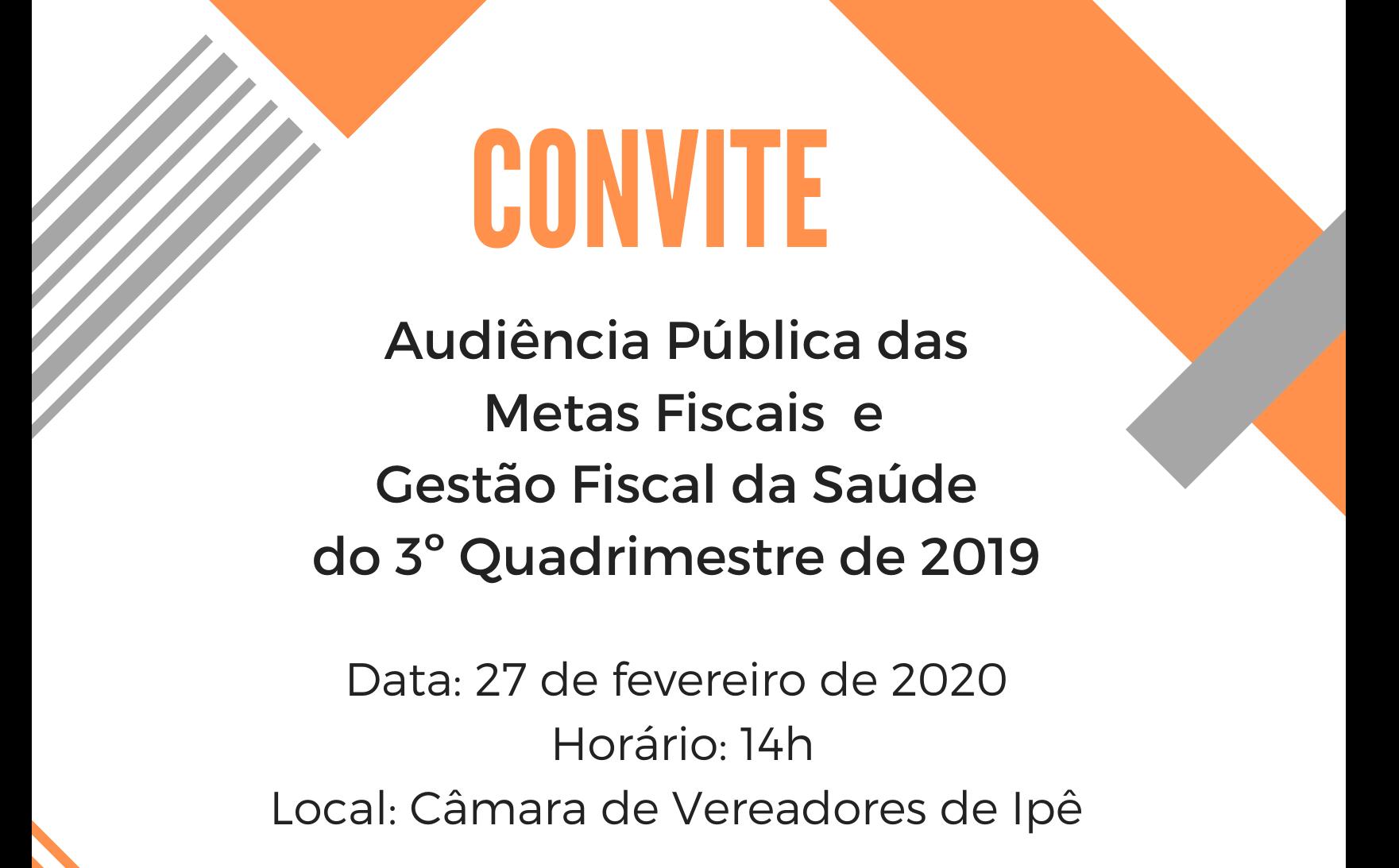 Foto de capa da notícia Administração de Ipê convida para audiência pública das metas fiscais e gestão fiscal da saúde