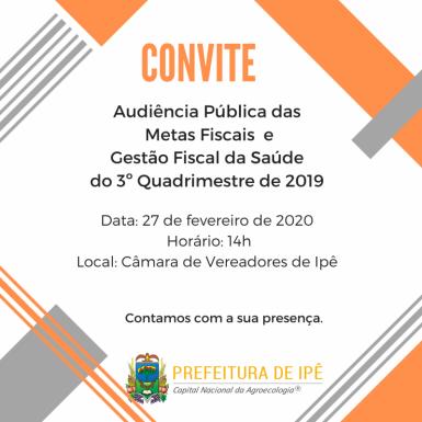 Foto de capa da notícia: Administração de Ipê convida para audiência pública das metas fiscais e gestão fiscal da saúde