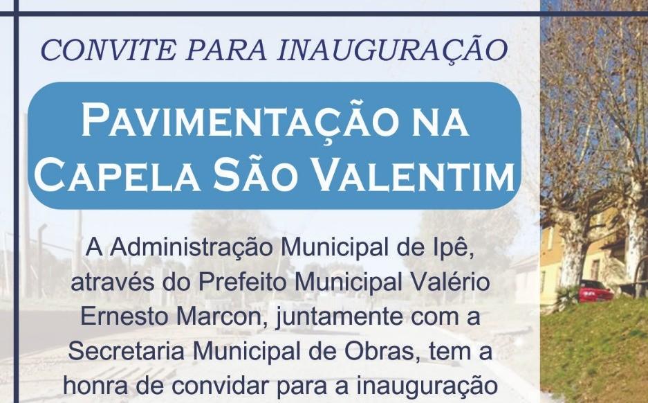 Foto de capa da notícia Administração de Ipê entrega pavimentação em São Valentim