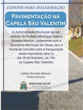 Foto de capa da notícia: Administração de Ipê entrega pavimentação em São Valentim