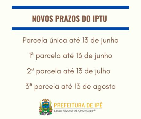 Foto de capa da notícia: Administração de Ipê prorroga prazo do IPTU e ISS