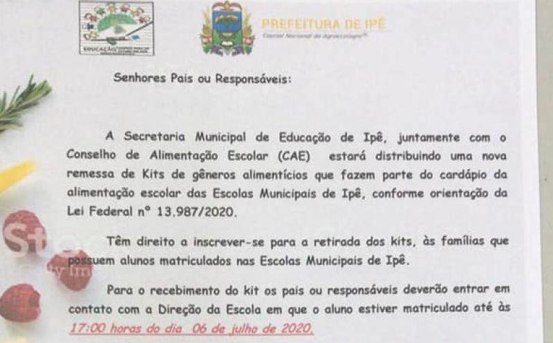 Foto de capa da notícia A Prefeitura Municipal de Ipê realizará a terceira distribuição de kits de alimentos que compõe a alimentação escolar municipal para os estudantes.