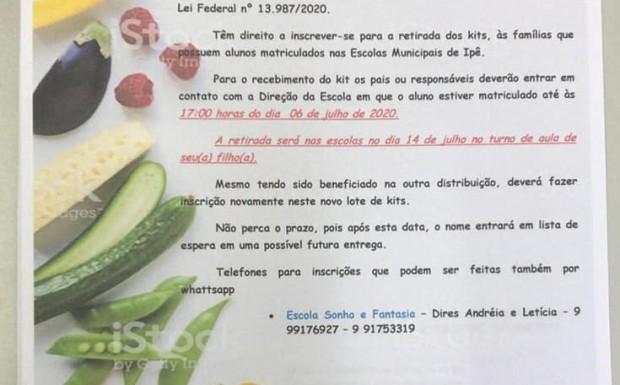 Foto de capa da notícia: A Prefeitura Municipal de Ipê realizará a terceira distribuição de kits de alimentos que compõe a alimentação escolar municipal para os estudantes.