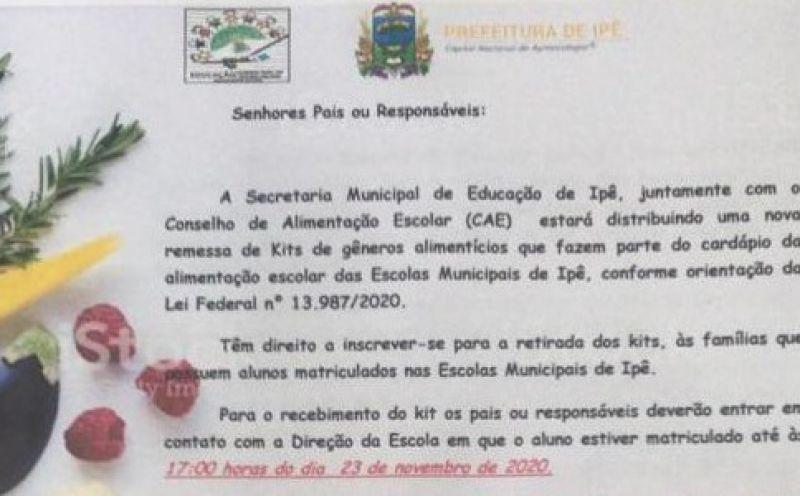 Foto de capa da notícia A Prefeitura Municipal de Ipê realizará distribuição de kits de alimentos que compõe a alimentação escolar municipal para os estudantes.