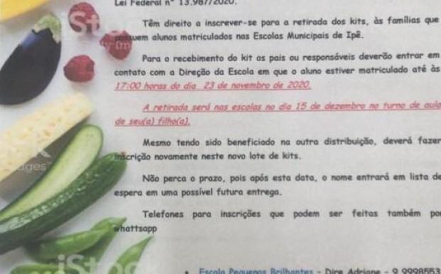 Foto de capa da notícia: A Prefeitura Municipal de Ipê realizará distribuição de kits de alimentos que compõe a alimentação escolar municipal para os estudantes.