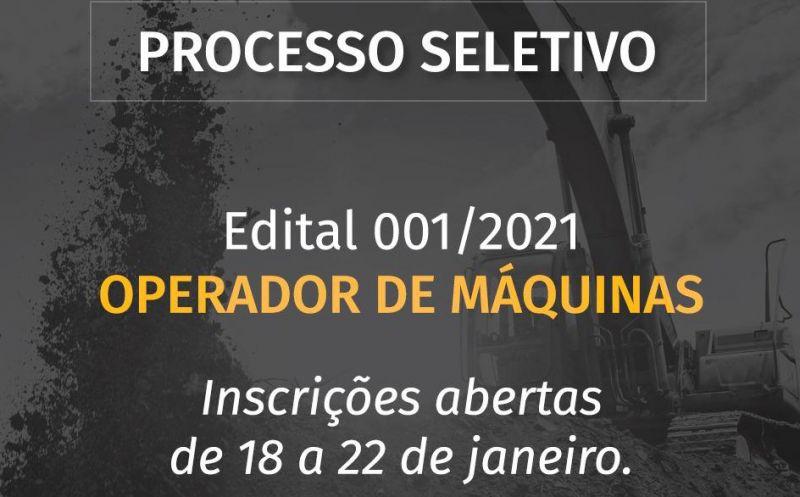 Foto de capa da notícia: Aberto PROCESSO SELETIVO para Operador de Máquinas