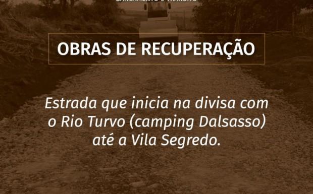 Foto de capa da notícia: A Secretaria de Obras inicia hoje as obras de recuperação na estrada entre o Rio Turvo e a Vila Segredo