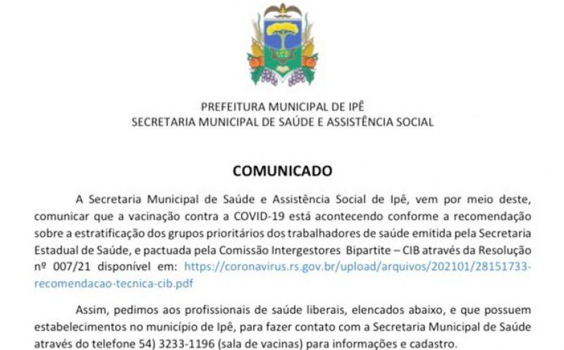 Foto de capa da notícia COMUNICADO VACINAÇÃO COVID-19