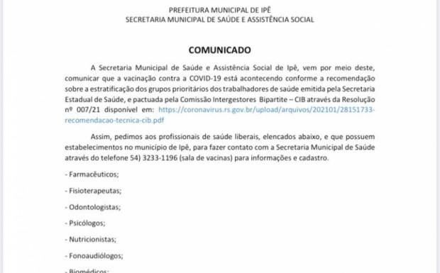 Foto de capa da notícia: COMUNICADO VACINAÇÃO COVID-19