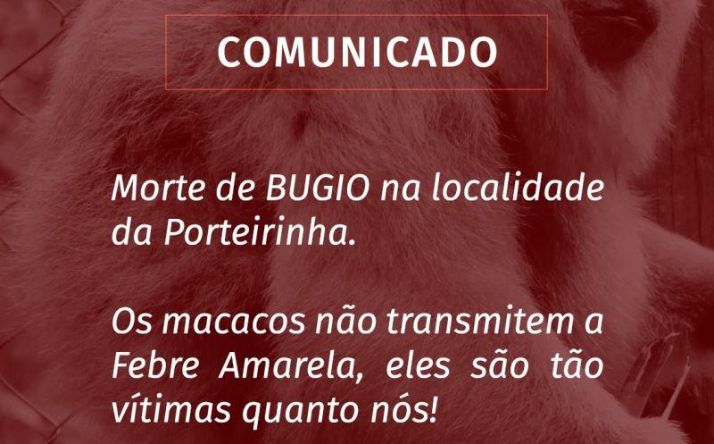 Foto de capa da notícia COMUNICADO SOBRE MORTE DE BUGIOS