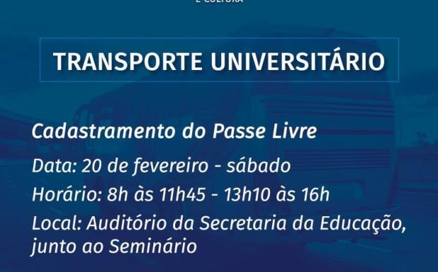 Foto de capa da notícia: CADASTRAMENTO DO PASSE LIVRE DO TRANSPORTE UNIVERSITÁRIO
