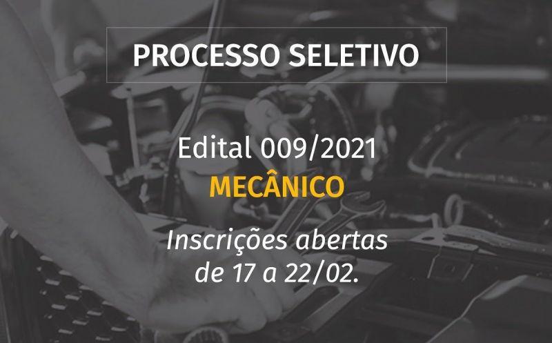 Foto de capa da notícia ABERTO PROCESSO SELETIVO PARA MECÂNICO